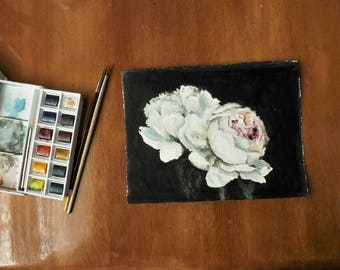 Original watercolor and ink painting of white peonies