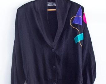 80's Simple Black Geometric Cardigan Sweater / Pullover