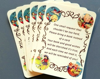 Bring a Book, Cards, Mother Goose, Nursery Rhymes, Baby Shower, Birthday, First Birthday, Book Gift, Sets of 6 and 12