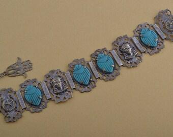 1950's Egyptian Scarab And Hamsa Bracelet (941i)