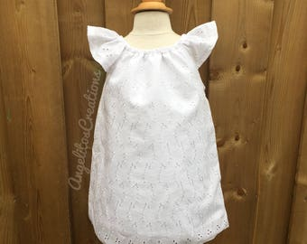 White Baby Dress and bloomer 2pcs, Toddler Flutter Sleeves Dress, Christening Dress, Baptism Dress, Flower Girl Dress, White Eyelet dress