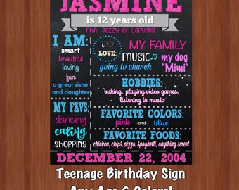 Teenage Girl Birthday Chalkboard Sign - Digital - 13th Birthday Chalkboard - Any age - Any Colors - Teenage Birthday Chalkboard