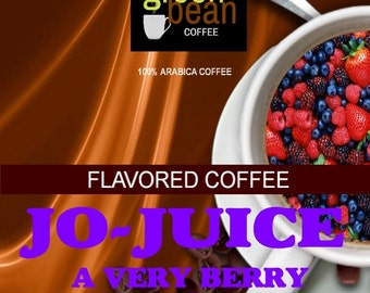 Jo-Juice Very Berry flavored coffee. Raspberries, Blueberries, strawberries, blackberries, and cranberries, in a deep rich chocolate. 2oz