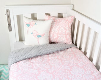 Blush damask and grey minky nursery set items