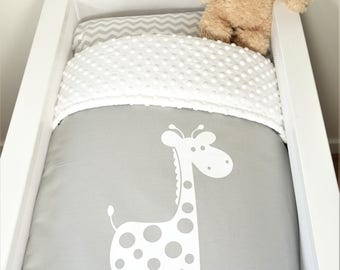 Bassinet/pram quilt or set - Monochrome grey and white giraffe