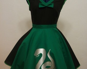 sly snake cosplay dress black green and silver cute costume wizard witch Halloween
