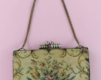 Vintage Petit Point coin Purse small handbag floral tapestry 1930s