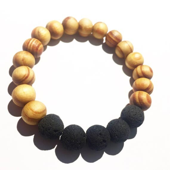 Essential Oil Diffuser Bracelet: Raw Black Lava Stone & Ringed Wood, Beaded, Lemon Eucalyptus, Lavender, Boho, Mala, Yoga, Meditation