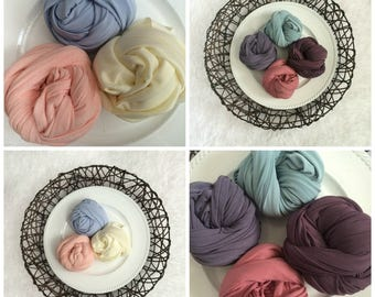 Jersey Stretch Knit Wrap,  7 COLORS,  Newborn Photo Prop, Pick 1 or 2 Wraps, Stretch Wrap, Swaddle Wrap, Layering Fabric.