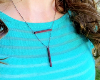 Lariat Necklace, Geometric Necklace, Wood Necklace, Minimalist Necklace
