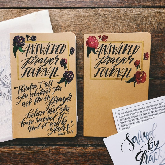 Answered prayer journal, scripture gift, hand lettered bible verse on Moleskine journal, custom and personalized gift, gifts for Christians