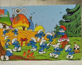 Smurf PUZZLE // 100 piece puzzle // Village birthday theme puzzle // gift for child // Child room decor