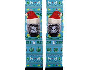 Harambe Christmas socks- meme socks, Harambe socks,