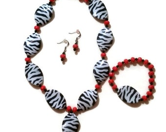 Black and White Zebra and Coral Necklace, Earrings and Stretch Bracelet with Coral Faceted Swarovski Crystals Set