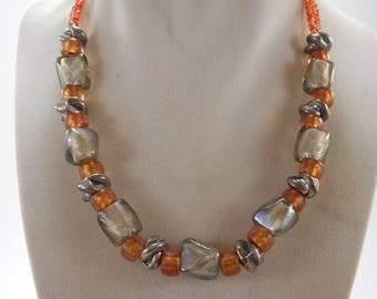 Lovely Chunky Glass Beaded Necklace Silver and Reddish Orange Colors 17 inch