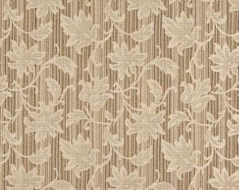 Beige And Brown Embroidered Floral Stripe Upholstery Jacquard Fabric By The Yard | Pattern # A0040D