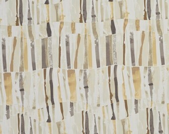 Peach and Grey Abstract Cotton Print Upholstery Fabric By The Yard | Pattern # B0305B