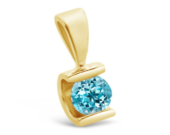 1/2 ct blue topaz Pendant- Yellow Gold Pendant 14K- blue topaz necklace-Women Jewelry-birthstone necklace-0.50 Carats blue topaz-for here