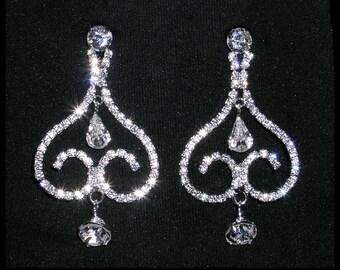 Style # 14145 - Inverse Heart Rhinestone Earrings