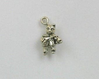 Sterling Silver 3D The Cat & The Fiddle Charm