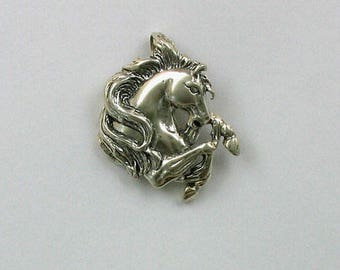 Sterling Silver Stallion Head Pendant