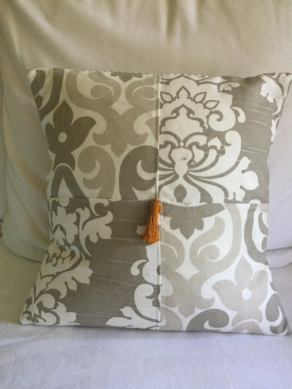 Items similar to Anthropologie inspired pillow, tassel pillow, Decorative pillow, damask pillow ...