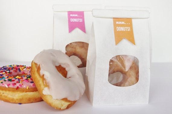 Premise Indicator Words: Dozen Donut Favor Bags Lined White Foldover Bag And Printed