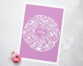Make Today Marvellous art print – purple art print – zendoodle art – papercut print – Make Today Marvellous – birthday gift – colourful art