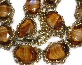 Vintage Banded Agate Glass Link Necklace, 1960's-70's, Designer Quality, Retro Jewellery/Jewelry