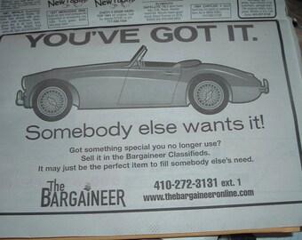 Recent Bargainer w 1960's Austin Healey Black & White Newspaper print ad