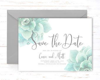 Succulent save the date card, greenery succulent invitation,  succulent save the date invite, 2017 wedding trends