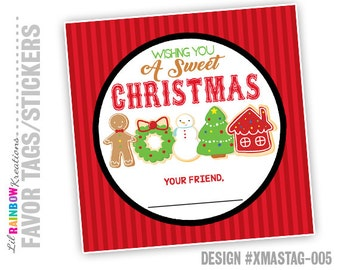 XMASTAG-005: DIY - Sweet Christmas Tag - Instant Downloadable File