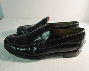 Vintage Black Leather Mens 1980's Shoes - Made In USA By 'Sebago' - Lovely!! UK 7.5