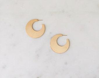 "Dead Stock Vintage Gold Flat Minimal Crescent Hoop Earrings 2"""