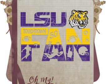 LSU Inspired Fan Layered Cutting File SVG Dxf Eps Png