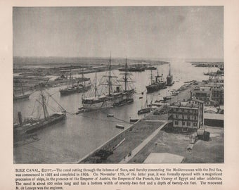 Egypt, Suez Canal, Port of Alexandria, Place Des Consuls, Alexandria. 3 Prints of 1892 Photographs of Famous Scenes by Charles H. Adams