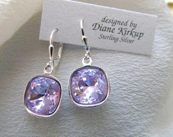 Swarovski Crystal Cushion Cut Violet Lever Back Earrings