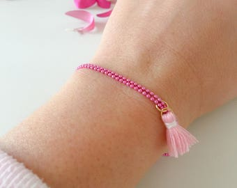 Aluminum chain bracelets, cotton wool, coral and pearl