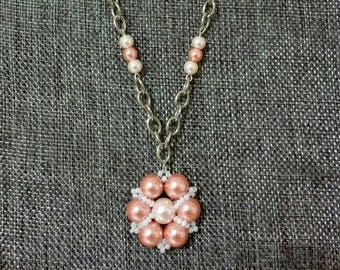 Pretty in Peach Pearl Pendant Necklace