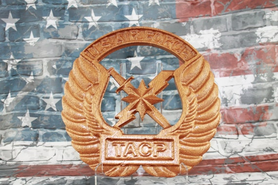 TACP, Tactical,  Air Control Party, Airforce, airforce gift, gifts for men, USAF US Air Force retirement carved wood sign plaques awards
