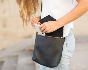 Black Leather Crossbody Messenger