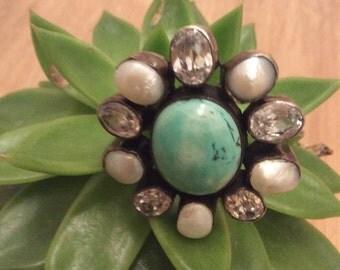 Ladies 925 real silver pearl brooch/pendant