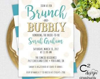 Brunch & Bubbly Teal Bridal Shower Invitation
