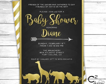 Gold & Black Safari Baby Shower Invitation