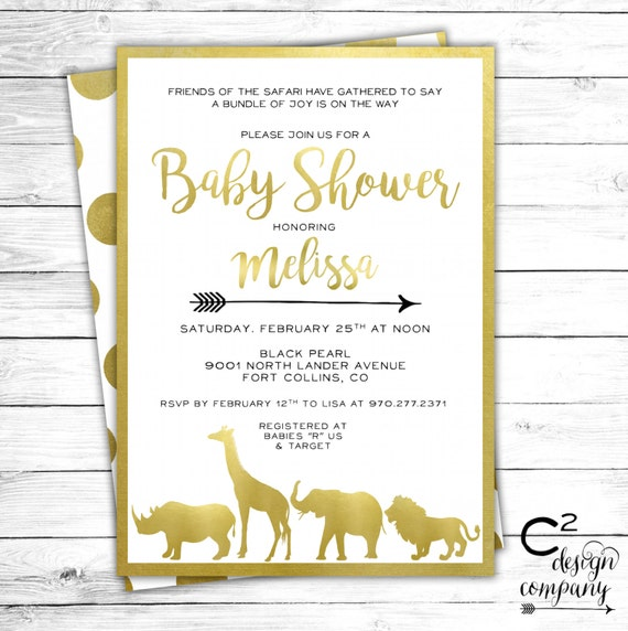 Safari Baby Shower Invitation: Gold Safari Baby Shower Invitation