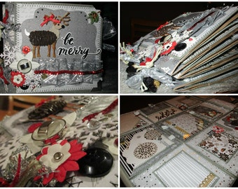 SALE* BE MERRY 6x6 premade Christmas/Holiday paperbag scrapbook album *sewn*