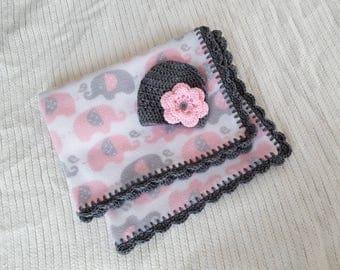 Baby blanket and hat set, baby girl gift, baby girl gift set, baby shower, baby gift, baby girl blanket, newborn 0-3 Month, gray elephants