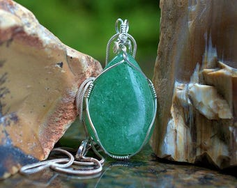 Aventurine pendant green gemstone pear shape pendant silver wire wrapped with necklace