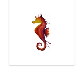 Sunset seahorse watercolour print greeting card