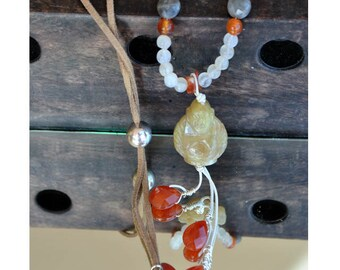 Saltire Buddha Bohemian chic natural stones, Labradorite, Moonstone, and carnelian, imitation suede cord
